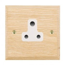 Hamilton Woods Chamfered Light Oak 1 Gang 5A Unswitched Socket with White Insert
