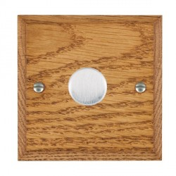 Hamilton Woods Chamfered Medium Oak 1 Gang 2 way 200VA Dimmer with Satin Chrome Insert