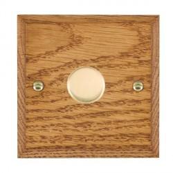 Hamilton Woods Chamfered Medium Oak 1 Gang 2 way 300VA Dimmer with Polished Brass Insert