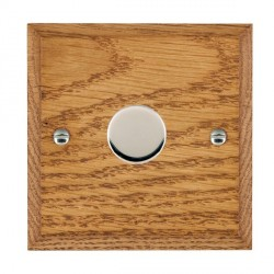 Hamilton Woods Chamfered Medium Oak 1 Gang 2 way 300VA Dimmer with Bright Chrome Insert
