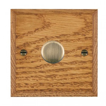 Hamilton Woods Chamfered Medium Oak 1 Gang 2 way 300VA Dimmer with Antique Brass Insert
