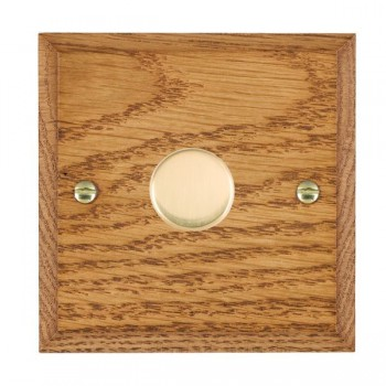 Hamilton Woods Chamfered Medium Oak 1 Gang 2 way 600W Dimmer with Polished Brass Insert