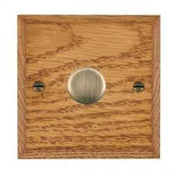 Hamilton Woods Chamfered Medium Oak 1 Gang 2 way 600W Dimmer with Antique Brass Insert