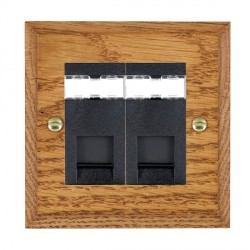 Hamilton Woods Chamfered Medium Oak 2 Gang RJ45 Cat 5E Unshielded Outlet with Black Insert