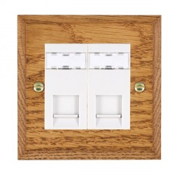Hamilton Woods Chamfered Medium Oak 2 Gang RJ45 Cat 5E Unshielded Outlet with White Insert