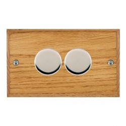 Hamilton Woods Chamfered Medium Oak 2 Gang 2 way 400W Dimmer with Bright Chrome Insert