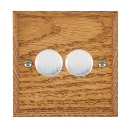 Hamilton Woods Chamfered Medium Oak 2 Gang Multi-way 250W/VA Dimmer with Satin Chrome Insert