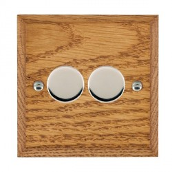 Hamilton Woods Chamfered Medium Oak 2 Gang Multi-way 250W/VA Dimmer with Bright Chrome Insert