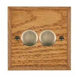 Hamilton Woods Chamfered Medium Oak 2 Gang Multi-way 250W/VA Dimmer with Antique Brass Insert