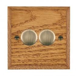 Hamilton Woods Chamfered Medium Oak 2 Gang Multi-way 250W/VA Dimmer with Antique Brass Insert