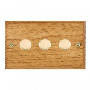 Hamilton Woods Chamfered Medium Oak 3 Gang 2 way 400W Dimmer with Polished Brass Insert