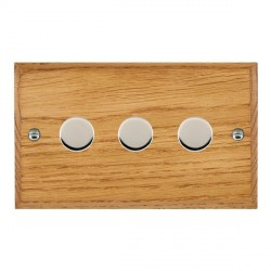Hamilton Woods Chamfered Medium Oak 3 Gang 2 way 400W Dimmer with Bright Chrome Insert