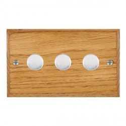 Hamilton Woods Chamfered Medium Oak 3 Gang Multi-way 250W/VA Dimmer with Satin Chrome Insert