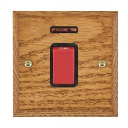 Hamilton Woods Chamfered Medium Oak 1 Gang 45A Double Pole Red + Neon Rocker with Black Insert