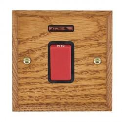 Hamilton Woods Chamfered Medium Oak 1 Gang 45A Double Pole Red + Neon Rocker with Black Insert