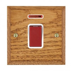 Hamilton Woods Chamfered Medium Oak 1 Gang 45A Double Pole Red + Neon Rocker with White Insert