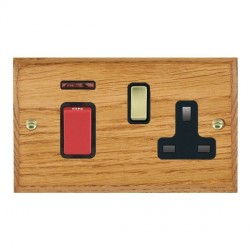 Hamilton Woods Chamfered Medium Oak 1 Gang 45A Double Pole Red + Neon + 1 Gang 13A Switched Socket with Black Insert