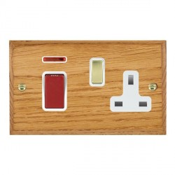 Hamilton Woods Chamfered Medium Oak 1 Gang 45A Double Pole Red + Neon + 1 Gang 13A Switched Socket with W...