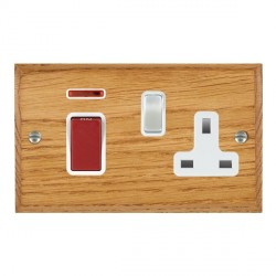 Hamilton Woods Chamfered Medium Oak 1 Gang 45A Double Pole Red + Neon + 1 Gang 13A Switched Socket with White Insert