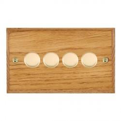 Hamilton Woods Chamfered Medium Oak 4 Gang 2 way 400W Dimmer with Polished Brass Insert