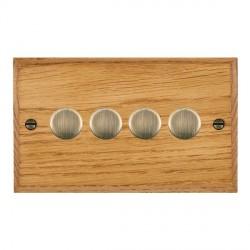 Hamilton Woods Chamfered Medium Oak 4 Gang 2 way 400W Dimmer with Antique Brass Insert