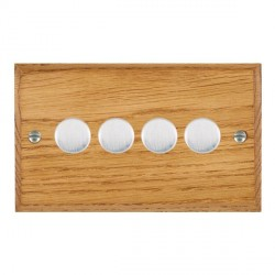 Hamilton Woods Chamfered Medium Oak 4 Gang Multi-way 250W/VA Dimmer with Satin Chrome Insert