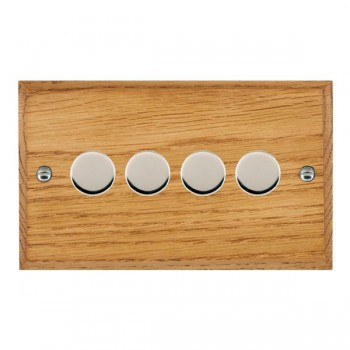 Hamilton Woods Chamfered Medium Oak 4 Gang Multi-way 250W/VA Dimmer with Bright Chrome Insert