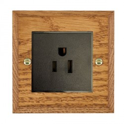 Hamilton Woods Chamfered Medium Oak 1 Gang 15A 127V American Unswitched Socket with Black Insert
