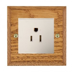 Hamilton Woods Chamfered Medium Oak 1 Gang 15A 127V American Unswitched Socket with White Insert