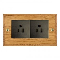 Hamilton Woods Chamfered Medium Oak 2 Gang 15A 127V American Unswitched Socket with Black Insert