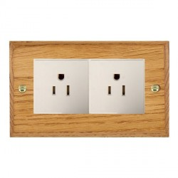 Hamilton Woods Chamfered Medium Oak 2 Gang 15A 127V American Unswitched Socket with White Insert