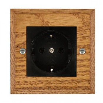 Hamilton Woods Chamfered Medium Oak 1 Gang 10/16A German Unswitched Socket with Black Insert