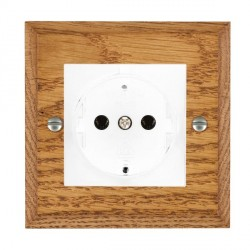 Hamilton Woods Chamfered Medium Oak 1 Gang 10/16A German Unswitched Socket with White Insert