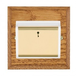 Hamilton Woods Chamfered Medium Oak 1 Gang On/Off 10A Hotel Card Switch with White Insert