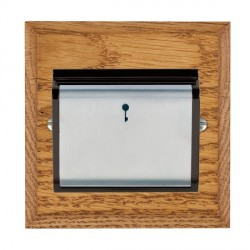 Hamilton Woods Chamfered Medium Oak 1 Gang On/Off 10A Hotel Card Switch with Black Insert
