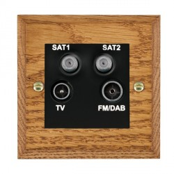 Hamilton Woods Chamfered Medium Oak 1 Gang TV + 1 Gang Satellite + 1 Gang Satellite + 1 Gang FM Outlet with Black Insert