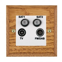 Hamilton Woods Chamfered Medium Oak 1 Gang TV + 1 Gang Satellite + 1 Gang Satellite + 1 Gang FM Outlet with White Insert