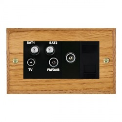 Hamilton Woods Chamfered Medium Oak 1 Gang TV, 2 x 1 Gang Satellite, 1 Gang FM, 1 Gang TV Slave, 1 Gang TV (Female) Outlet with Black Insert