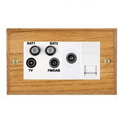 Hamilton Woods Chamfered Medium Oak 1 Gang TV, 2 x 1 Gang Satellite, 1 Gang FM, 1 Gang TV Slave, 1 Gang TV (Female) Outlet with White Insert