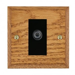 Hamilton Woods Chamfered Medium Oak 1 Gang Digital Satellite 'F' Type Outlet with Black Insert