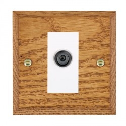 Hamilton Woods Chamfered Medium Oak 1 Gang Digital Satellite 'F' Type Outlet with White Insert