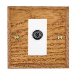 Hamilton Woods Chamfered Medium Oak 1 Gang Digital Satellite 'F' Type Outlet with White Insert