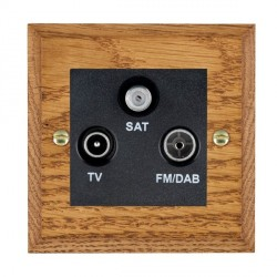 Hamilton Woods Chamfered Medium Oak 1 Gang TV + 1 Gang FM + 1 Gang Satellite Outlet with Black Insert