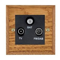 Hamilton Woods Chamfered Medium Oak 1 Gang TV + 1 Gang FM + 1 Gang Satellite Outlet with Black Insert