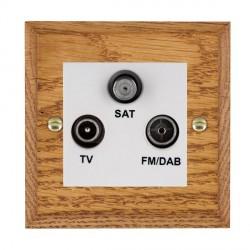 Hamilton Woods Chamfered Medium Oak 1 Gang TV + 1 Gang FM + 1 Gang Satellite Outlet with White Insert
