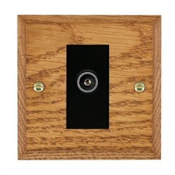 Hamilton Woods Chamfered Medium Oak 1 Gang TV (Female) Outlet with Black Insert