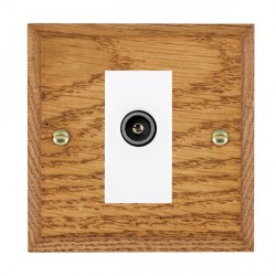 Hamilton Woods Chamfered Medium Oak 1 Gang TV (Female) Outlet with White Insert