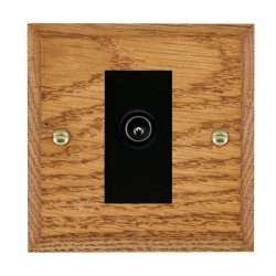 Hamilton Woods Chamfered Medium Oak 1 Gang TV (Male) Outlet with Black Insert