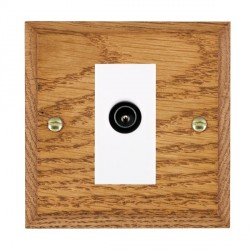 Hamilton Woods Chamfered Medium Oak 1 Gang TV (Male) Outlet with White Insert