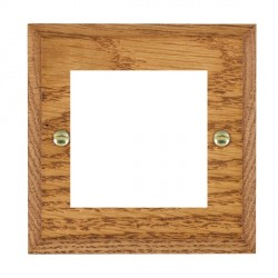 Hamilton Woods Chamfered Medium Oak Single Plate with 50x50mm EuroFix Aperture